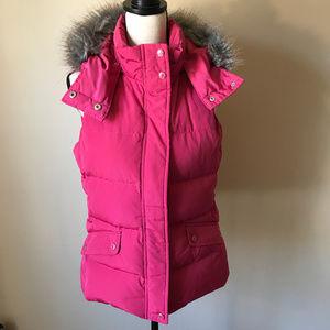 Talbots Puffer Vest w Faux Fur Hood Trim SZ SP